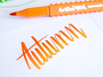 Autumn typo lettering brushpen artilinestix brushlettering handlettering autumn