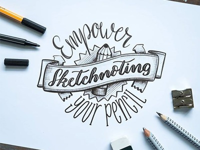 Sketchnoting Scribble pencil logo scribble handlettering sketchnoting