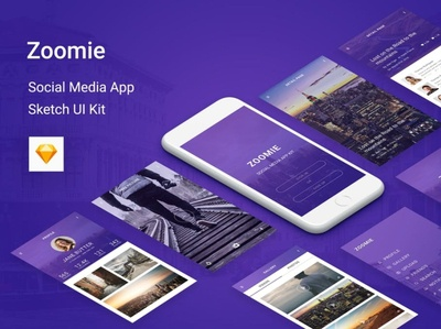 Zoomie   Social Media Mobile APP for Sketch