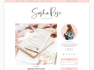 Wordpress Blog Theme - Sasha Rose website design personal blog blog theme landing page wordpress theme theme website website theme branding web design