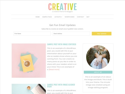 Feminine WordPress Theme: Creative landing page personal theme blog theme wordpress theme website web design