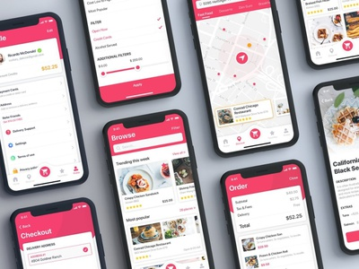 Foody - Food App UI Kit template ui kit flat elements ux app ui branding web design