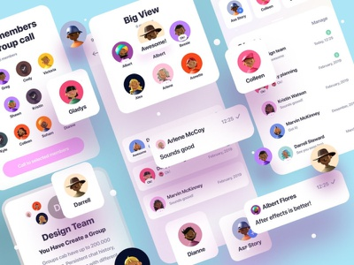 Clean Chat App UI ui kit design ui kit flat elements ux app ui branding web design