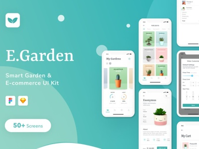 EGarden - SmartGarden Management App ui kit design ui kit flat elements ux app ui branding web design