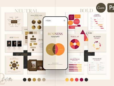 Chart & Graph Duo Palette | CANVA PS pie new chart chart graph branding web design