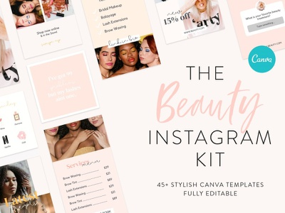 Beauty Instagram Canva Template Kit banner instagram banner instagram social media template branding design
