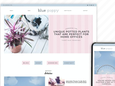 Blue Poppy Wordpress Theme Blog ui kit design ui kit personal theme personal blog template web design webdesign web website wordpress themes wordpress theme