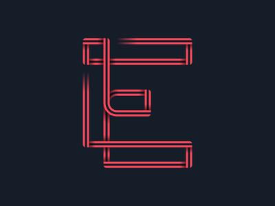#36days_E vector illustration type typography logo lettering 36daysoftype letter e 36days-e illustrator color shadow 3d