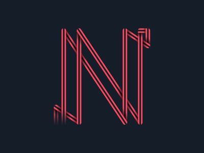 #36days_N alphabet letter n vector typography type shadow logo lettering illustrator illustration color 3d 36daysoftype