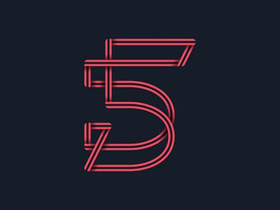 #36days_4 number 5 lettering logo lllustration illustrator shadow typography type 3d alphabet 36dayoftype