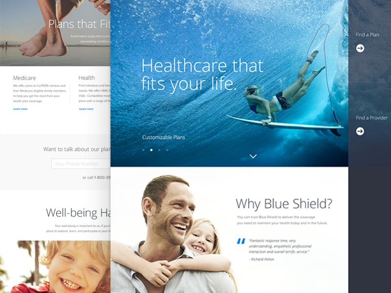 Blue Shield Homepage Exploration homepage healthcare landing page desktop mobile web marketing