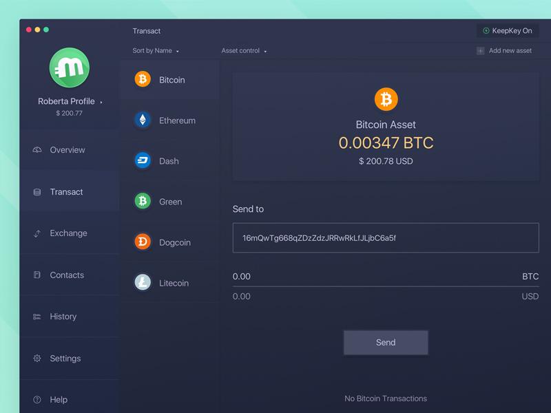 Multi Profile Bitcoin Desktop App Transaction Screen By