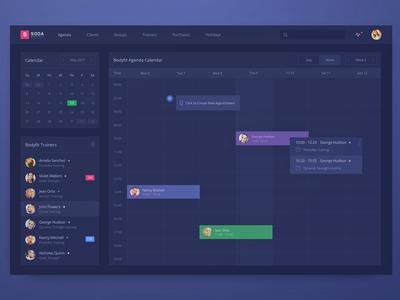 Internal Fitness Club Management Dashboard task zajno manager agenda calendar fitness application webapp ui ux interface dashboard