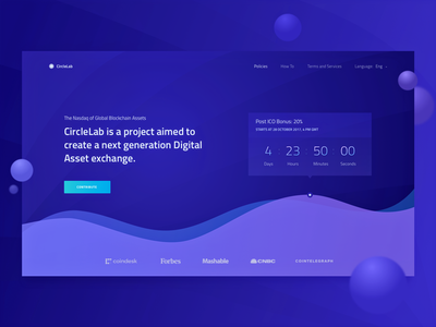 Homepage for a New Cryptocurrency Startup