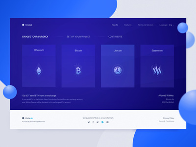 First Step Description for a Cryptocurrency Contribution Flow token bitkoin ethereum blockchain web design zajno ux ui selection contribution ico cryptocurrency