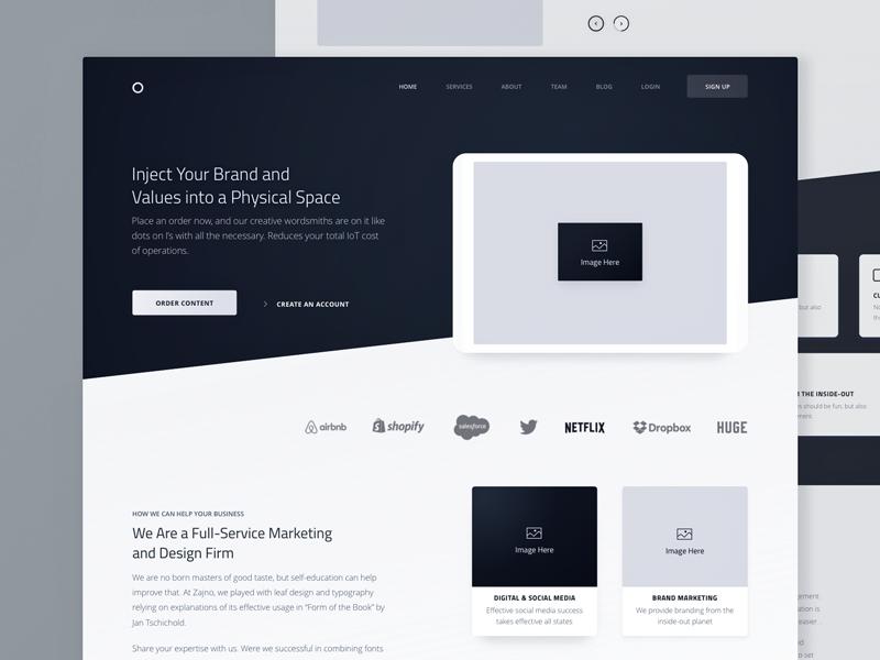Homepage Wireframe For Marketing Website By Sergey Pikin On Dribbble,Blue Scandinavian Bedroom Design
