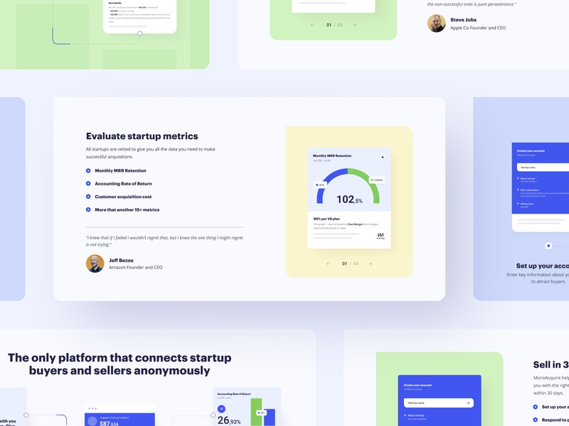 MicroAcquire - Helping Startups Find Buyers website app startup platform product design web zajno
