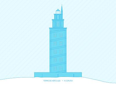 Torre de Hércules / A Coruña galicia galician sea hercules tower blue illustration spain coruna build monument