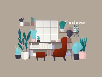 My kind of cozy relax illustration cozy bookcase plants illustrator