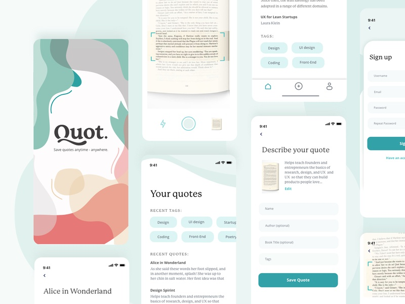 Quot. - mobile app for saving notes from books quotes quote form reading photo scanner blobs tags iphonex ui app