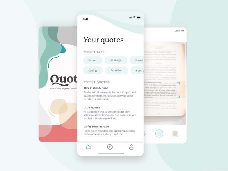 Quot. - mobile app for saving notes from books ios homescreen quote quotes tabs camera blobs photo iphonex app