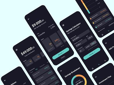 Personal finances app || Dark Theme dark ui dark mode dark theme investment investments savings fintech finance data data visualization clean ui ui app