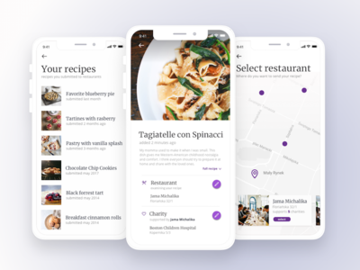 Give your recipe to support a charity! list map interface user ui restaurant recipe ios food cook app