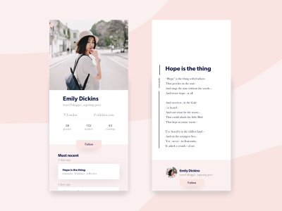 Social network for young poets publication writers profile iphonex poetry poem ux ui app
