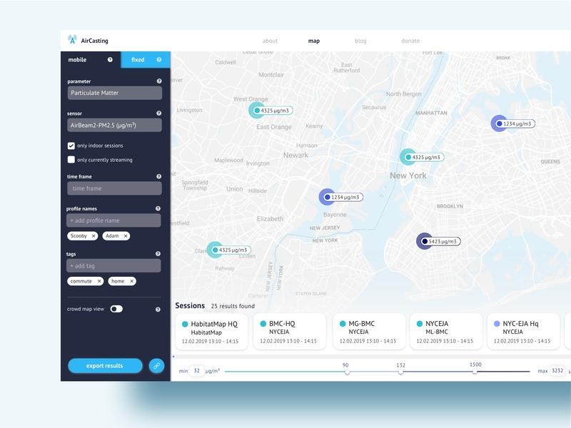 AirCasting - environmental data monitoring app filters data analysis data visualization monitoring dataviz data marker map website design web clean ui clean ecology enviroment