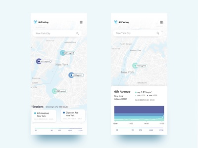 AirCasting - environmental data monitoring app monitoring map marker ecology data visualization analysis data clean ui clean iphonex ios ui app