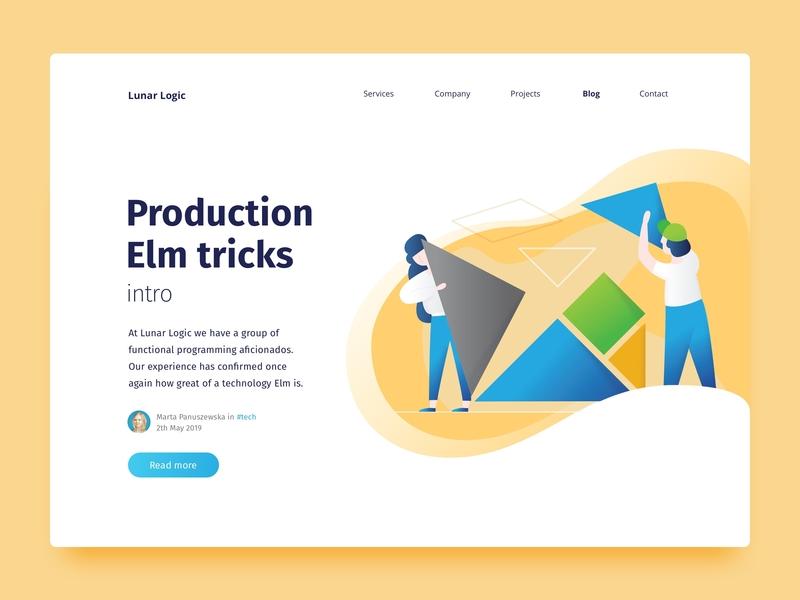 Blogpost teaser - Programming in Elm golden ratio web design article blogpost clean elm programming team shapes website web ui landing landing page