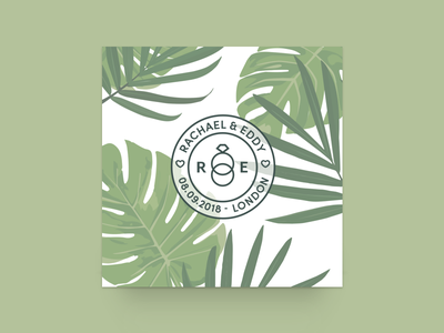 Save the date stamp botanical leaves foliage monstera greenery wedding stationery save the date