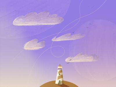 03/31 Cloud - Peachtober '21 sea ocean peachtober seascape landscape cloud clouds lighthouse textured illustration illustration