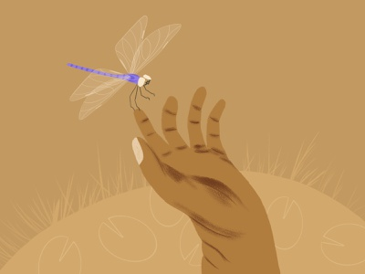 04/31 Hand - Peachtober '21 dragonflies lily pad pond hand dragonfly peachtober textured illustration illustration