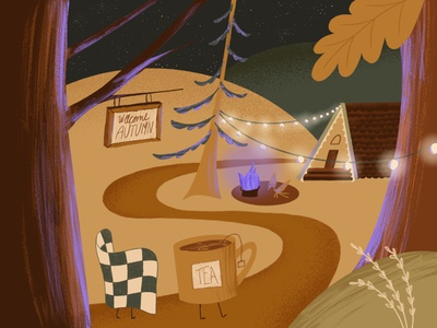 6/31 Fall - Peachtober '21 character blanket cozy tea cabin vibes cabin autumn fall peachtober textured illustration illustration