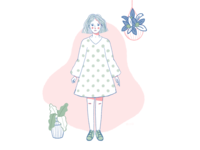 The girl with the polka dots dress