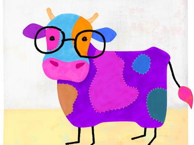Stichy Cow with Glasses