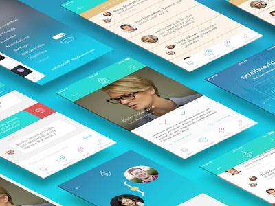 SmallWorld App (Light) chat messaging design minimal application app network social mobile geometric circular ios