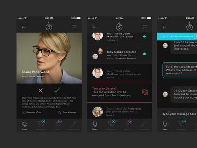 Small World App messaging design minimal modern application app network social mobile geometric circular ios