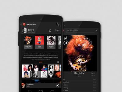 Musicinfo app concept ui user interface ux prototype concept music lollipop android app