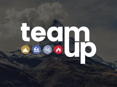 Teamup logo startups identity entrepreneurship bootcamp event symbols letters branding logo