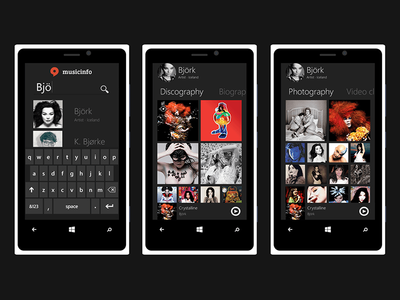 Musicinfo Windows phone concept music design user interface user experience ux ui concept windows phone windows