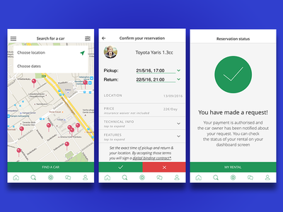 UX design for p2p car renting android ios mobile user interface user experience ux ui