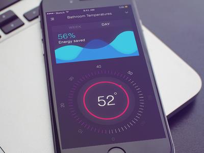 Smart Termostat concept ux ui termostat switcher house smart sketch mobile graph app