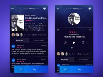 Book App Concept vol.2 slider music player dark buttons button book blue app