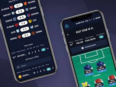 ⚡️Mobile Scout Fantasy Platform⚡️ odds bettings bet interface sport football fantasy ux ui mobile