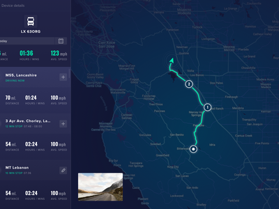 ⚡️Real-Time GPS Tracker ⚡️ principle ux ui typography design interface clean dark app map tracker gps car animation