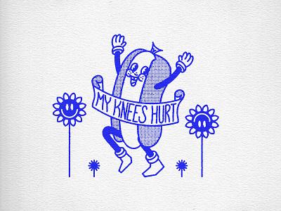 My Knees Hurt running illustration