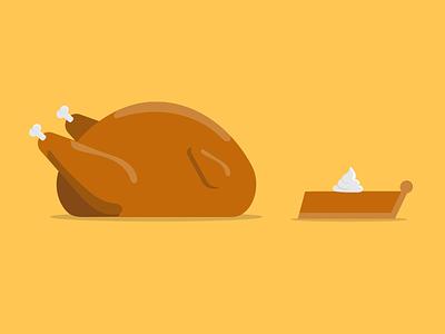 Thanksgiving pumpkin pie turkey illustration thanksgiving