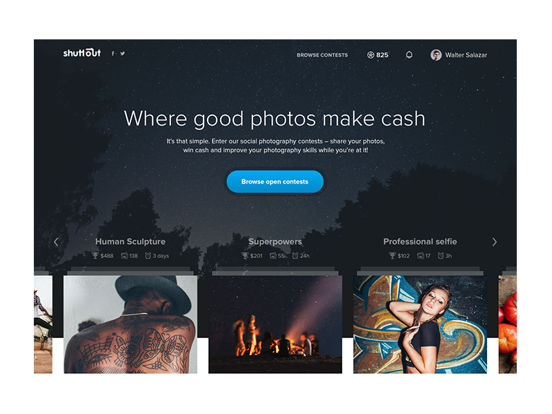 Shuttout Homepage header proxima cta photography photo hero web ux ui landing